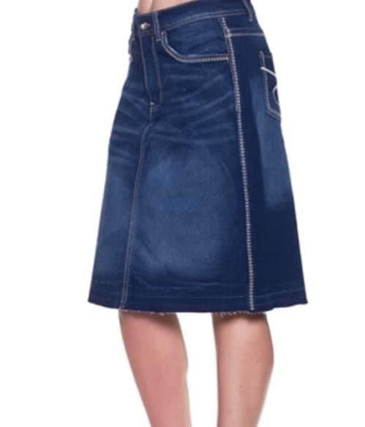 "24"" Length Dark Wash Denim Skirt With Embroidery 76334"
