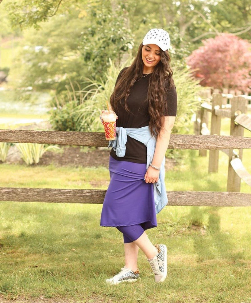 Purple Athletic & Swim Skirt with Built-in Capri Leggings