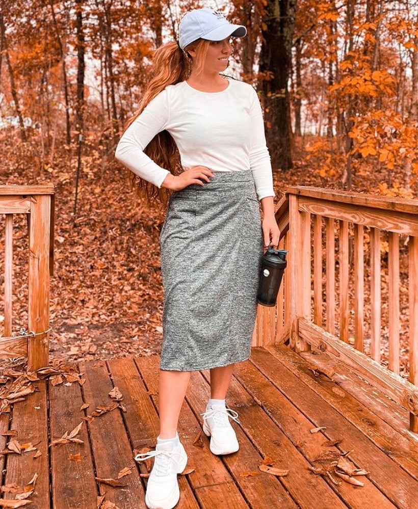 Gray Space Dye Pocket Style Athletic & Scrub Skirts with Hidden Leggings