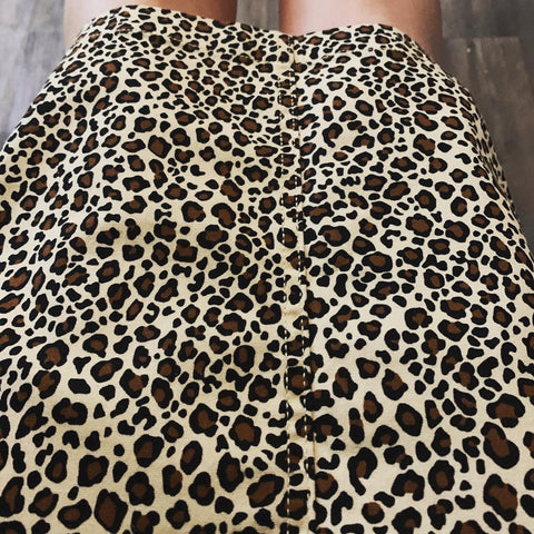 "Elastic Waist Leopard Print Skirts in 25"" Length"