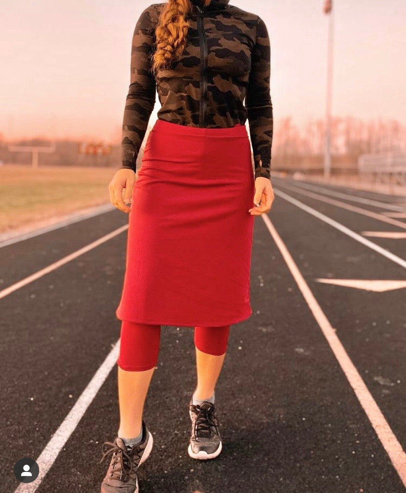 Cranberry A-Line Athletic Skirt with Capri Leggings
