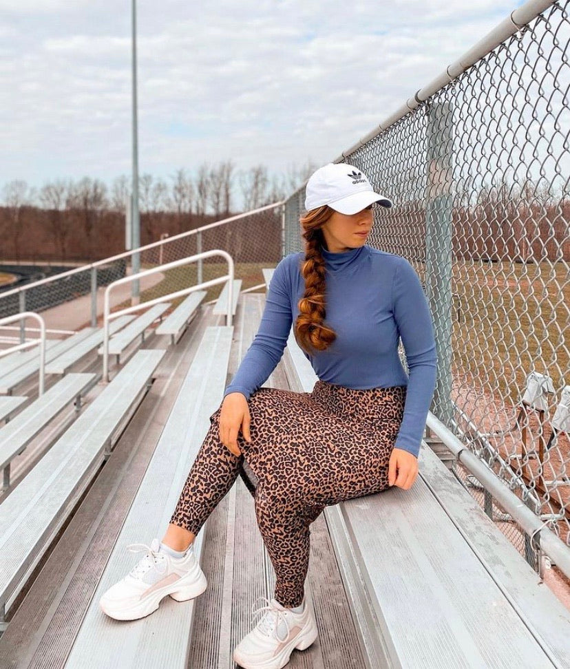 Leopard Print Pencil Style Athletic Skirt with Ankle Length Leggings