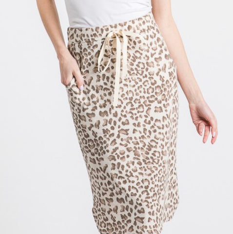 Leopard Knit Drawstring Skirt