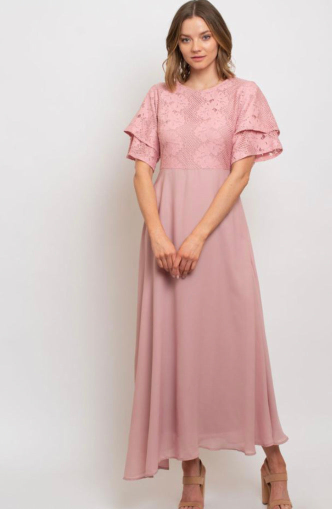 Ruffle Sleeve Dress with Lace Bodice in Light Pink