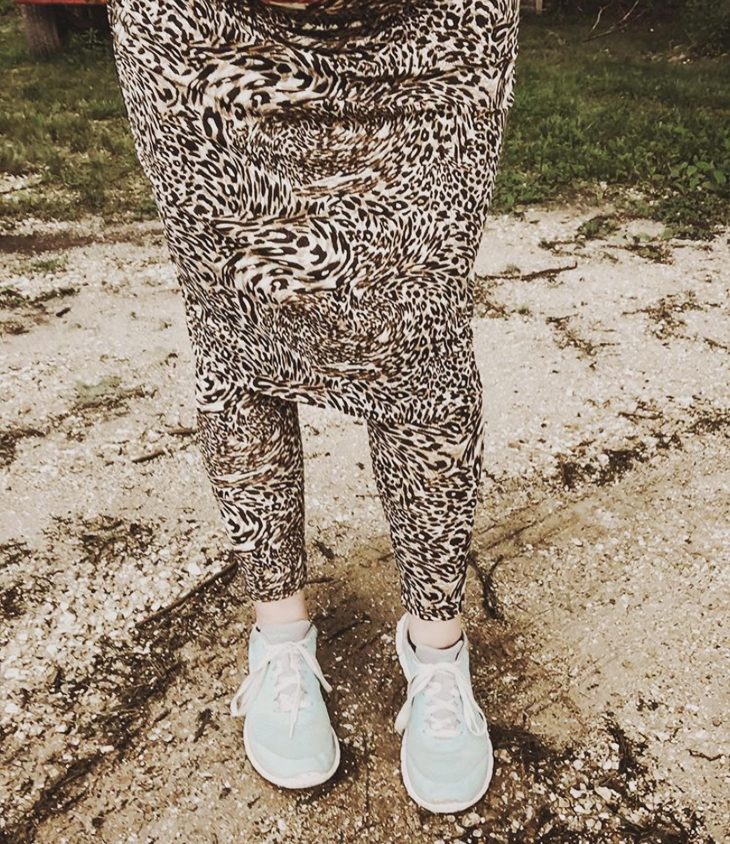 Leopard Print Athletic/Swim Skirt with Ankle Length Leggings