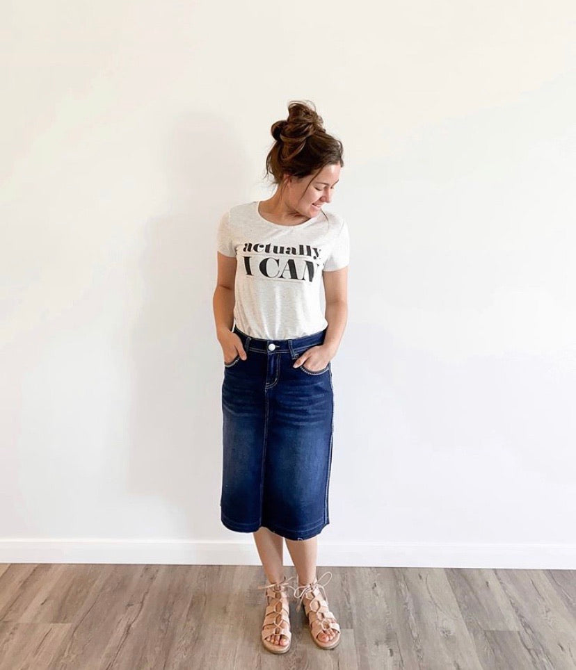 "24"" Length Dark Wash Denim Skirt With Embroidery"