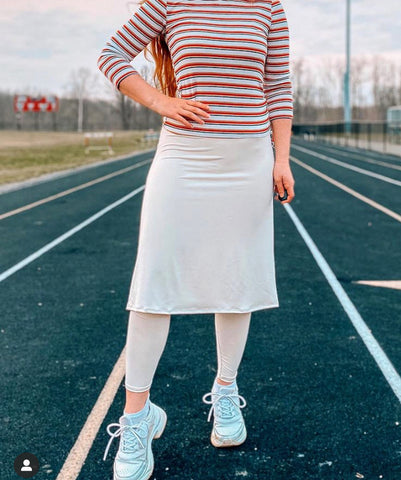Beige A-Line Athletic Skirt with Ankle-length Leggings