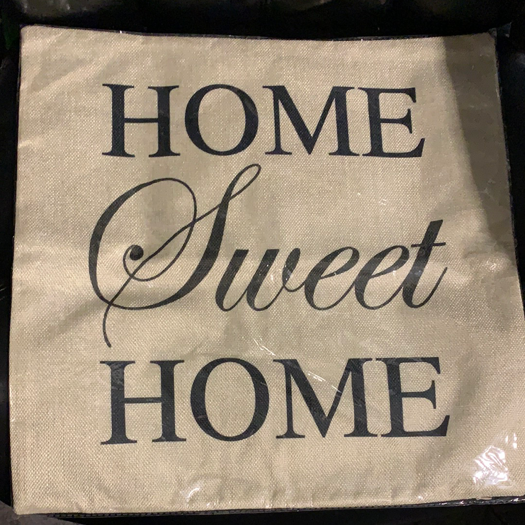 Burlap Home Sweet Home Pillow Cover 18x18""