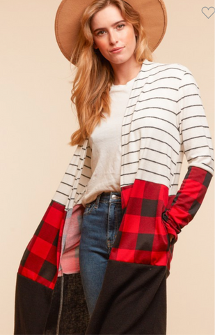 Red Buffalo Plaid & Striped Long Cardigan Sweater
