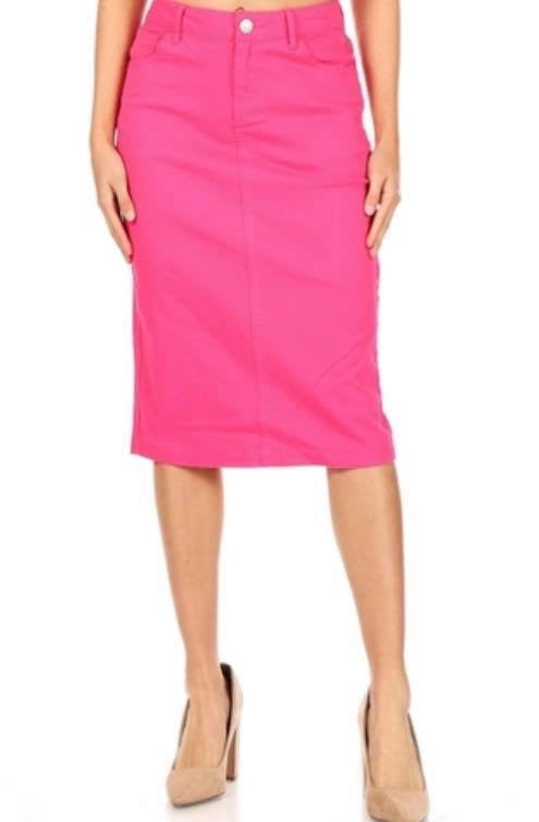 "27"" Length Hot Pink Denim Skirt"