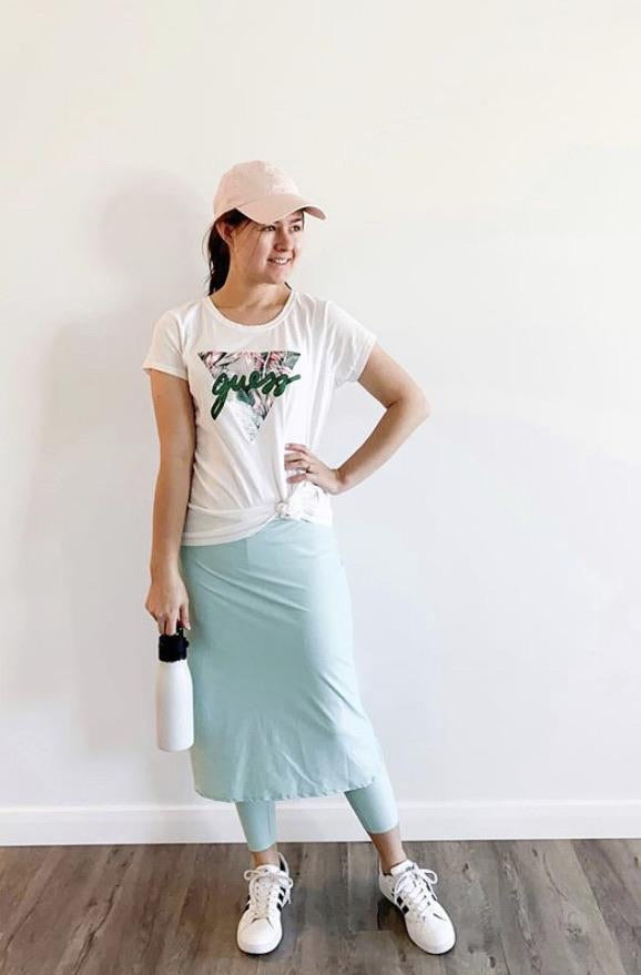 Tall Length A-Line Style Athletic Skirt in Mint with Built-in Leggings