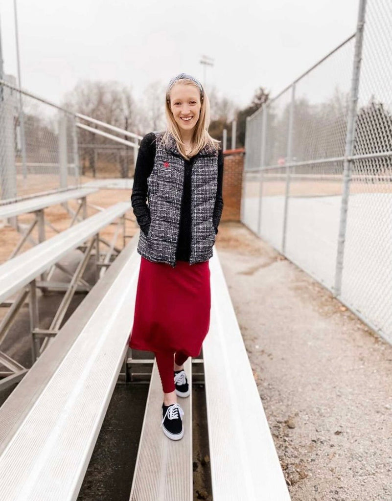 Cranberry Athletic Pencil Style Skirt with Leggings