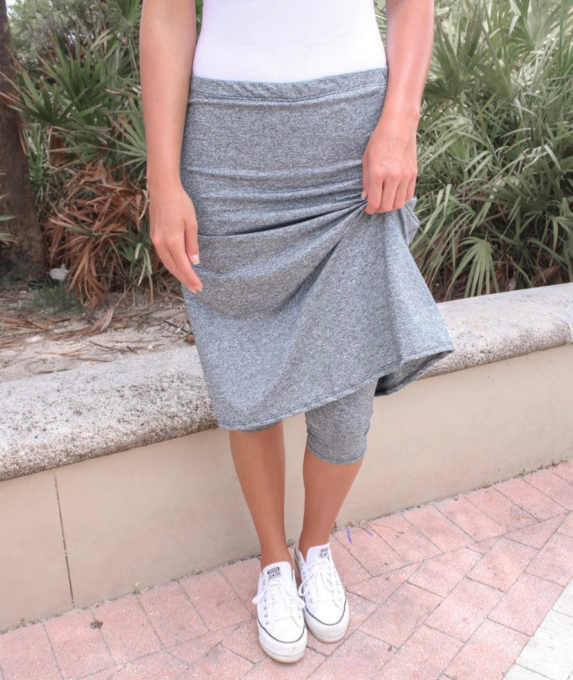 Space Dye Gray A-line Athletic & Swim Skirts with Built-in Leggings