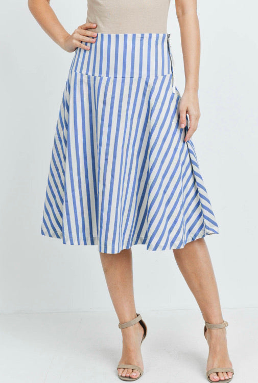 Blue Striped Skirt with Side Zip