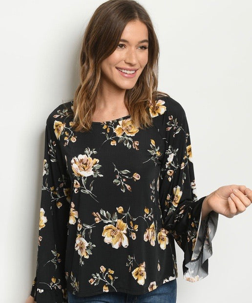 Black Floral Print Angel Sleeve Top