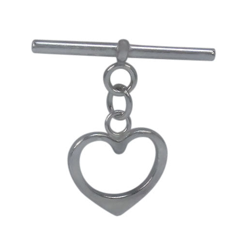 RHODIUM PLATED ON STERLING SILVER  SMOOTH HEART SHAPE TOGGLE 26 MM L X 26 MM W (TOGGLE)
