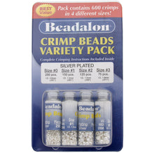 Load image into Gallery viewer, BEADALON CRIMP BEAD VARIETY  PACK #0-3 PLATED SILVER 600 PC