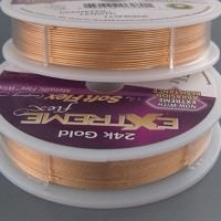 Load image into Gallery viewer, EXTREME FLEX BEADING WIRE 24K GOLD PLATED HEAVY DIA.014 INCH (LENGTH 30 ft)