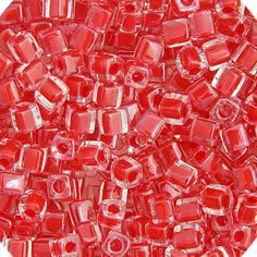 MIYUKI SQUARE CUBE 4MM BEADS RED CRANBERRY LINED LUSTER