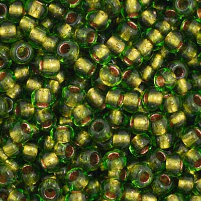 Czech Seedbead 11/0 Green Transparent Copper Lined 5077V