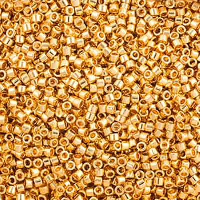 Delica Seed Beads 11/0 RD Gold 24Kt AB Plated 0031V