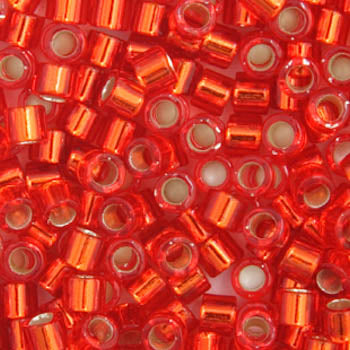 Delica Seed Beads 11/0 RD Red/Orange Silver Lined DB0043