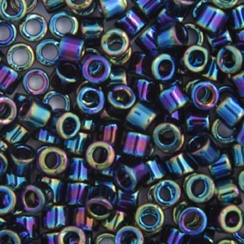 Delica Seed Beads 10/0 RD Black AB 0005V