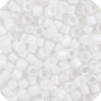 Delica Seed Bead 11/0 RD White AB Lined Dyed  0066V