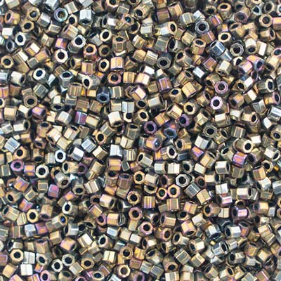 Delica Seed Beads 10/0 Cut Purple Metallic Gold 0029V