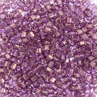 Delica Seed Beads 10/0 CUT Amethyst Transparent Gold Luster 0108V