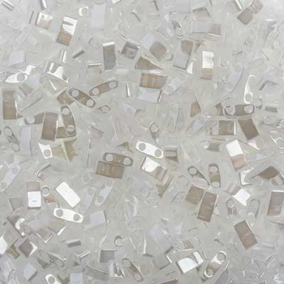Miyuki TILA  Half Cut White Opaque Luster 2 Hole Beads 5x2.3mm 0511V