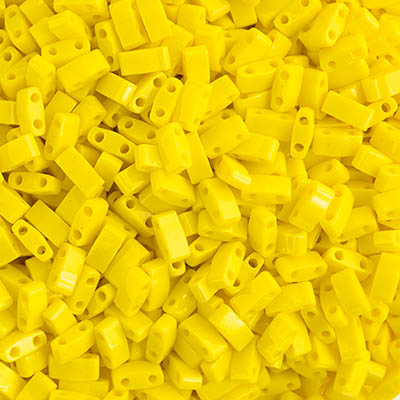 Miyuki TILA  Half Cut Lemon Yellow Opaque  2 Hole Beads 5x2.3mm 0404V