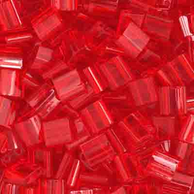 Tila Red Transparent 2 Hole Beads 5x5MM 0140V