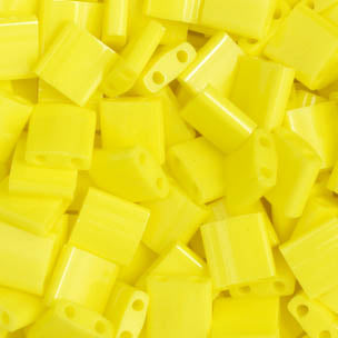 Tila Yellow Opaque 2 Hole Beads  5x5MM 0404V