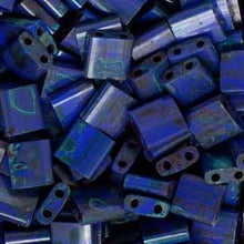 Load image into Gallery viewer, Tila Beads Royal Blue W/Turquoise Picasso Opaque 2 Hole Beads 5x5MM 4518V