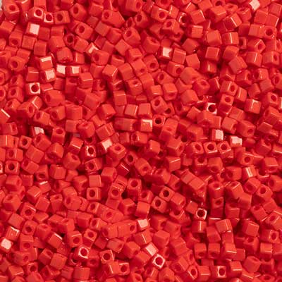 Miyuki Square Cube Seed Beads 1.8mm Red Opaque 0408V