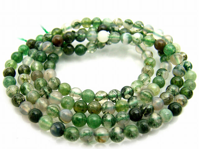 Moss Agate Natural Gemstone Round Bead Strand 10-229