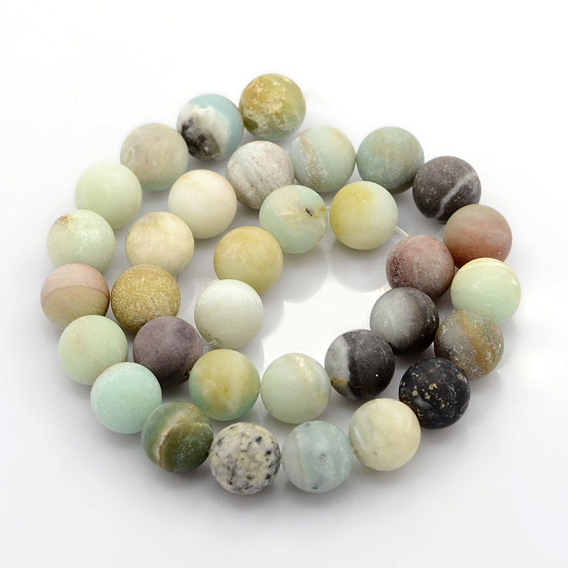 Amazonite Matte Frosted Natural Stone Beads #10-52