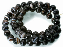 "Load image into Gallery viewer, Black Banded Agate Natural Round Gemstone Bead Strand 15""  #10-67"