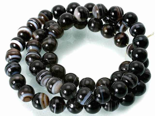 Black Banded Agate Natural Round Gemstone Bead Strand 15
