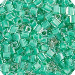MIYUKI SQUARE CUBE 3MM BEADS TEAL GREEN LINED LUSTER