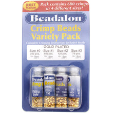 Load image into Gallery viewer, BEADALON CRIMP BEAD VARIETY  PACK #0-3 PLATED GOLD 600 PC