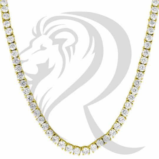Ice Chain 4mm Gold Plated Simulated Diamond Tennis Neckchain