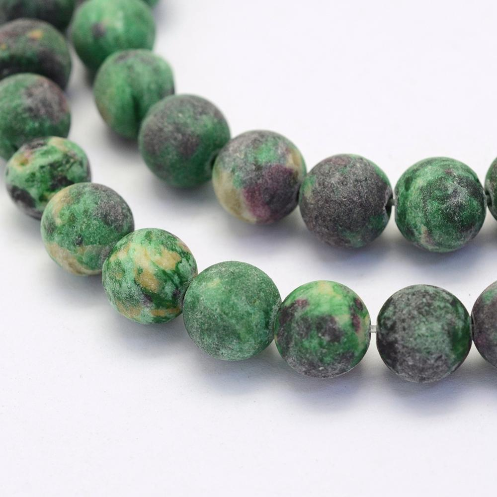 Crazy Agate Frosted Green Natural Gemstone Beads #9-27-G