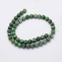 Load image into Gallery viewer, Crazy Agate Frosted Green Natural Gemstone Beads #9-27-G
