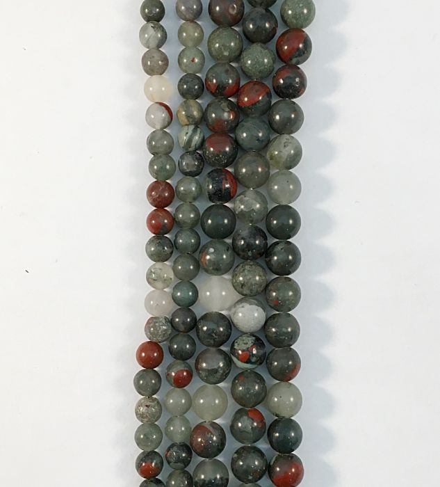 Natural African Blood Stone Round Gemstone Bead strand #10-147