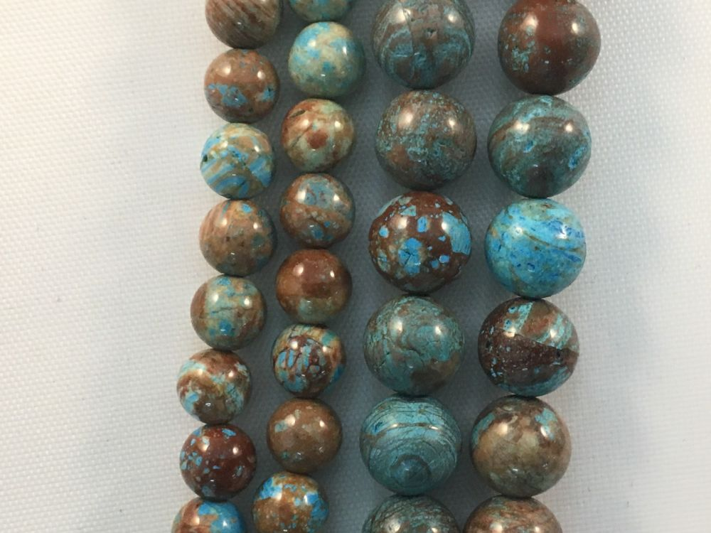 Blue Decorative Agate Natural Round Gemstone Beads #10-11