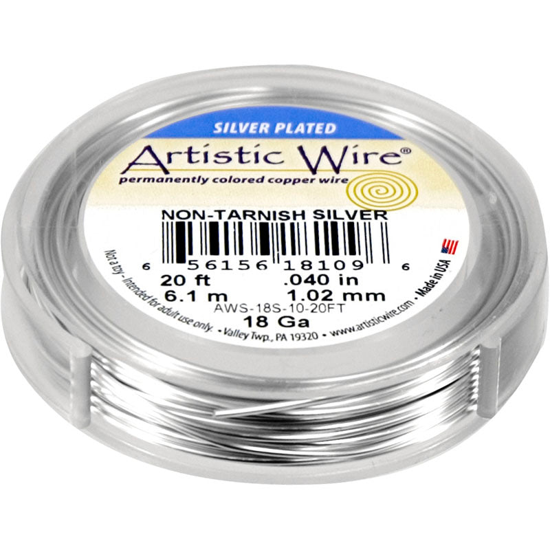 Artistic  Copper Wire Non-Tarnish Silver 18 Gauge 20 Feet