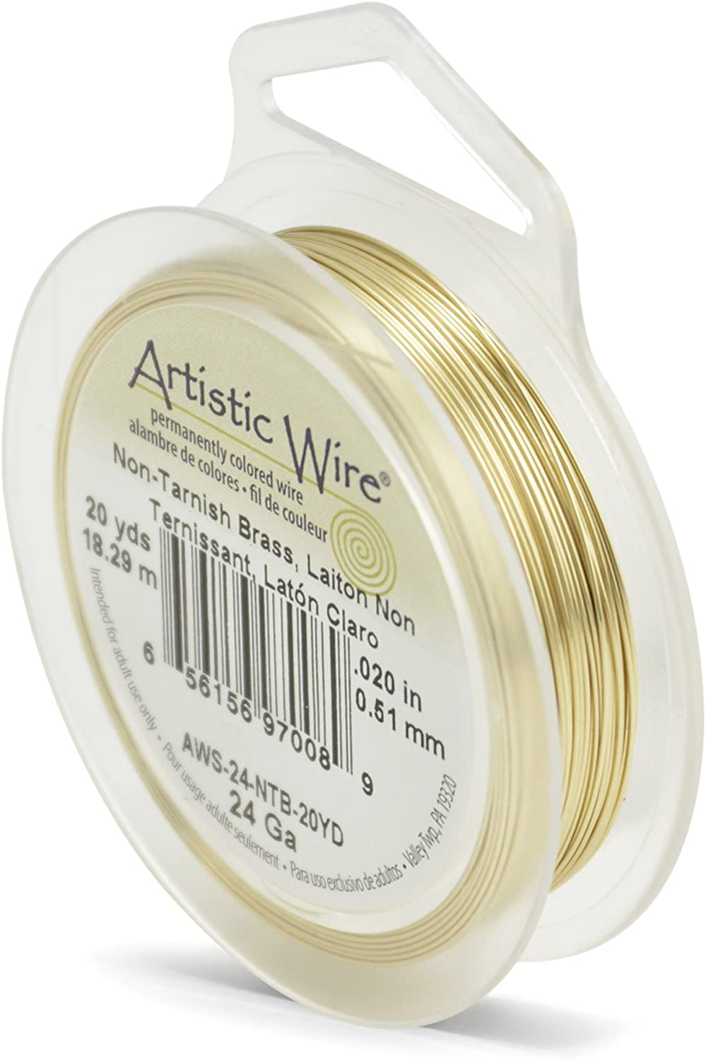 Artistic Copper Wire Non Tarnish Brass 24GA 20 Yards AW24NTB