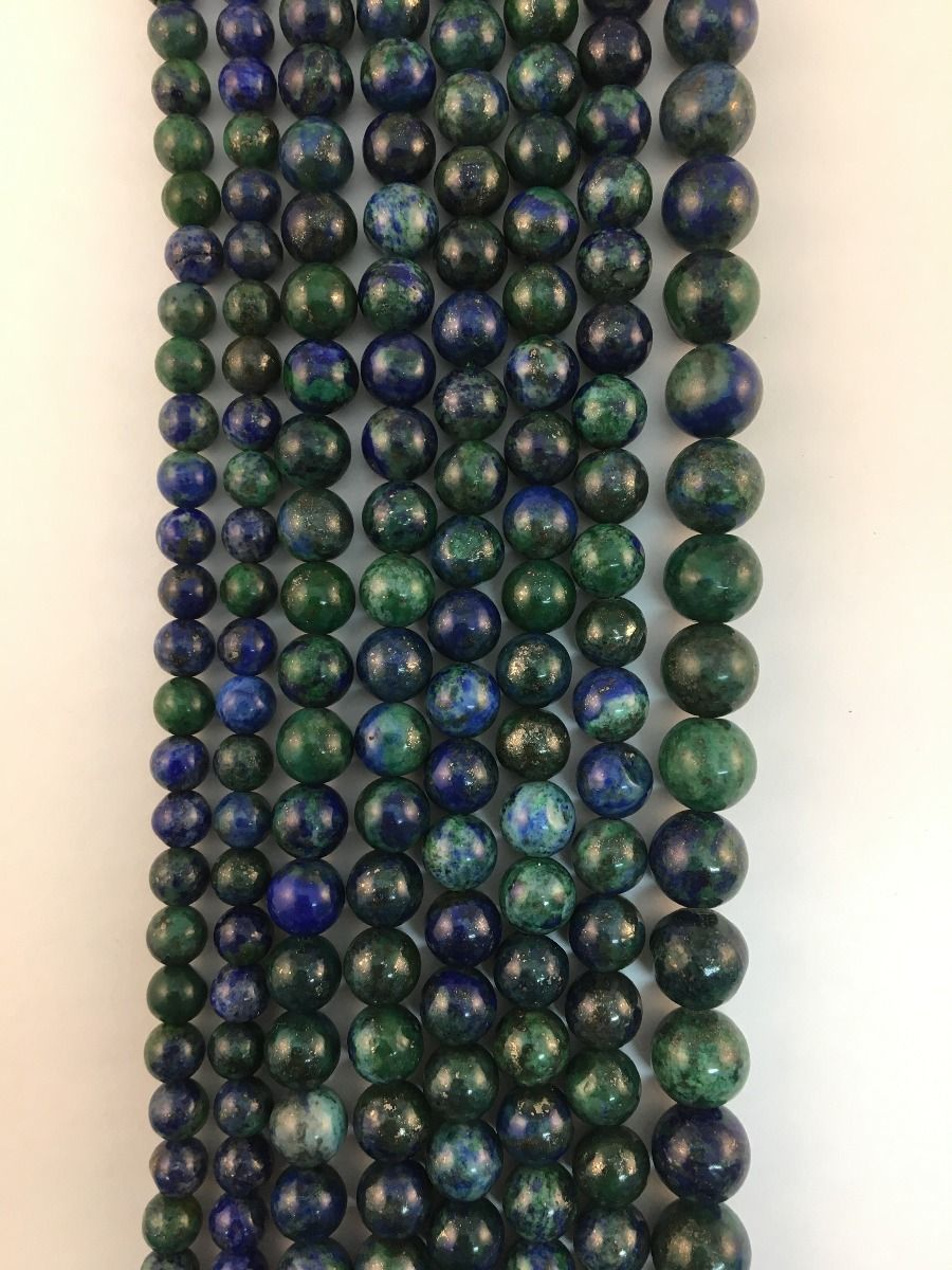 Azurite Malachite Natural Round Beads #10-124